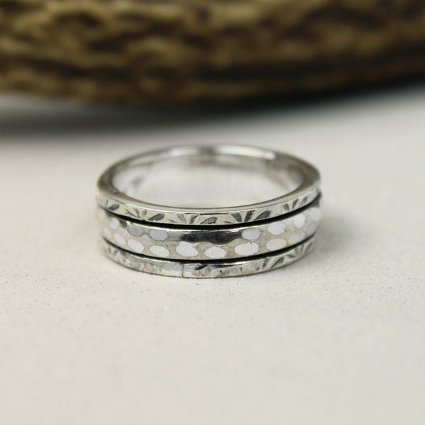 Silver Hammered Spinning Ring