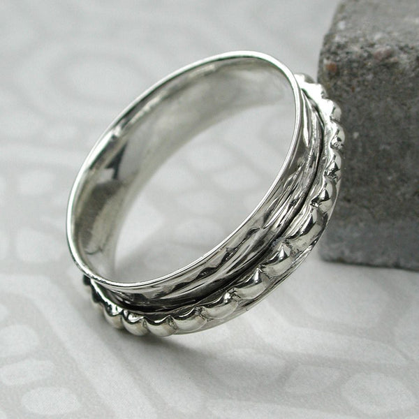 Silver Hammered and Dotty Spinning Ring