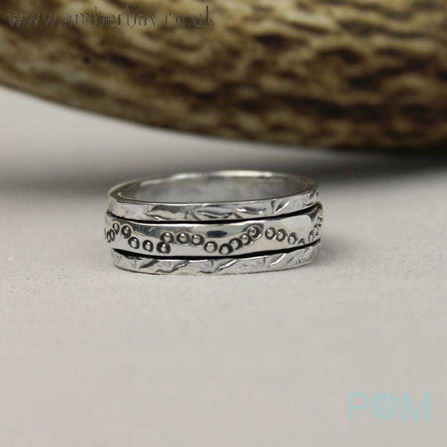 Silver Textured Spinning Ring