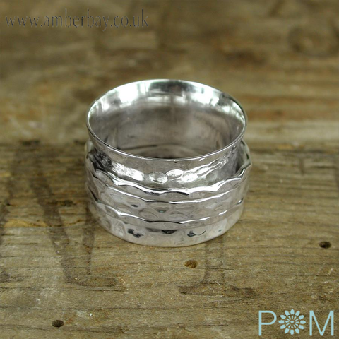 Silver Wide Hammered Spinning Ring