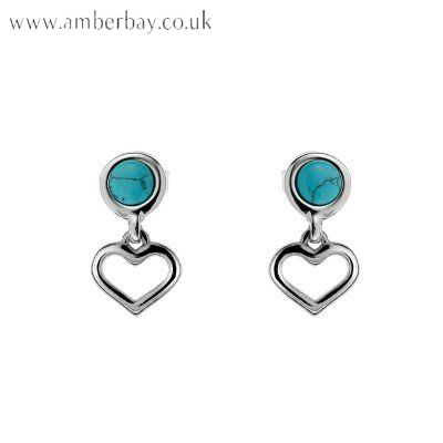 Sterling Silver and Turquoise Heart Drop Earrings