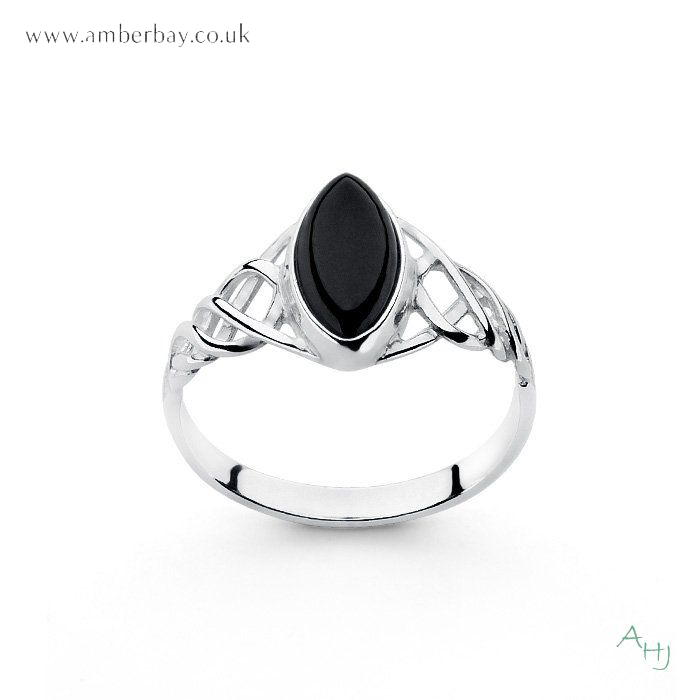 Whitby Jet and Sterling Silver Celtic Ring