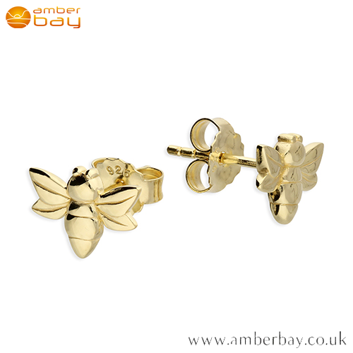 Yellow Gold Plated Bee Stud Earrings