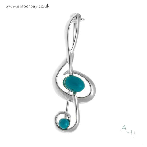 Silver and Turquoise Treble Clef Brooch