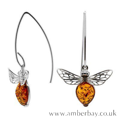 Sterling Silver and Cognac Amber Bee Drop Earrings