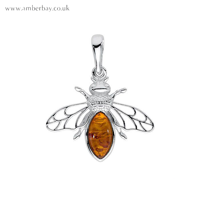 Sterling Silver and Cognac Amber Bee Pendant