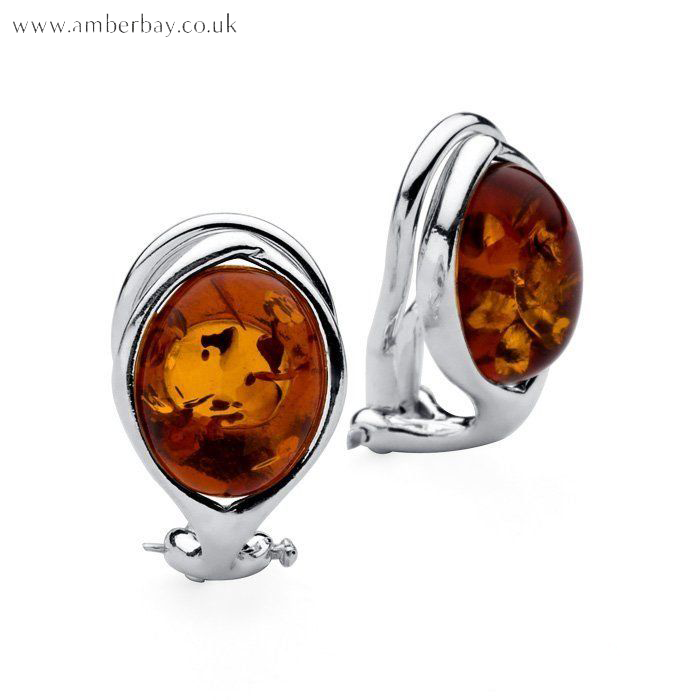 Silver and Cognac Amber Clip On Earings