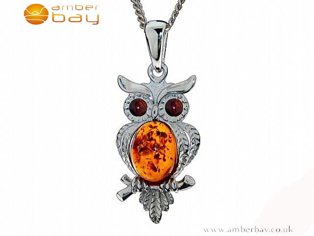 Silver and Amber Owl Pendant