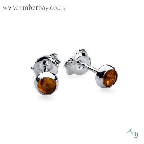 Sterling Silver and Cognac Amber Stud Earrings