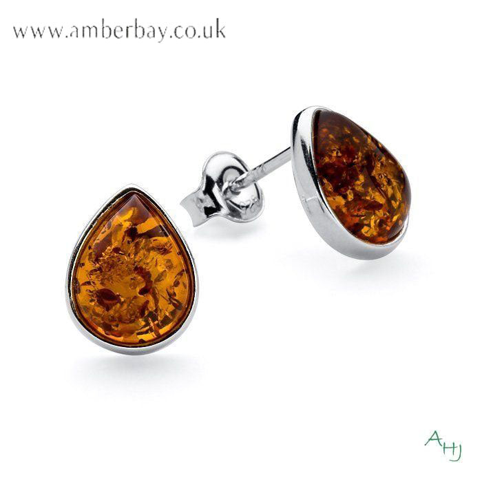 Sterling Silver and Cognac Amber Teardrop Stud Earrings