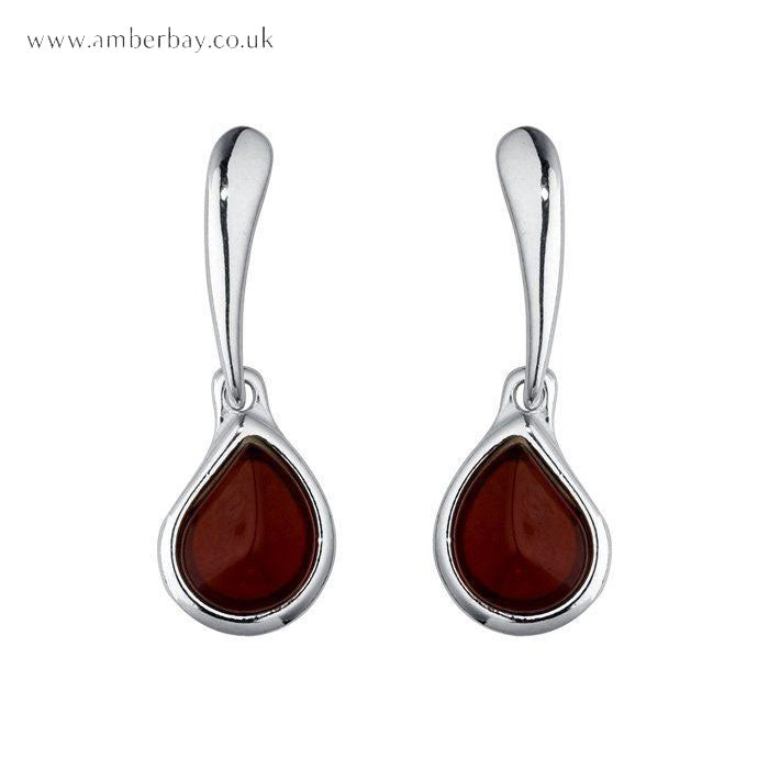 Sterling Silver and Cherry Amber Earrings