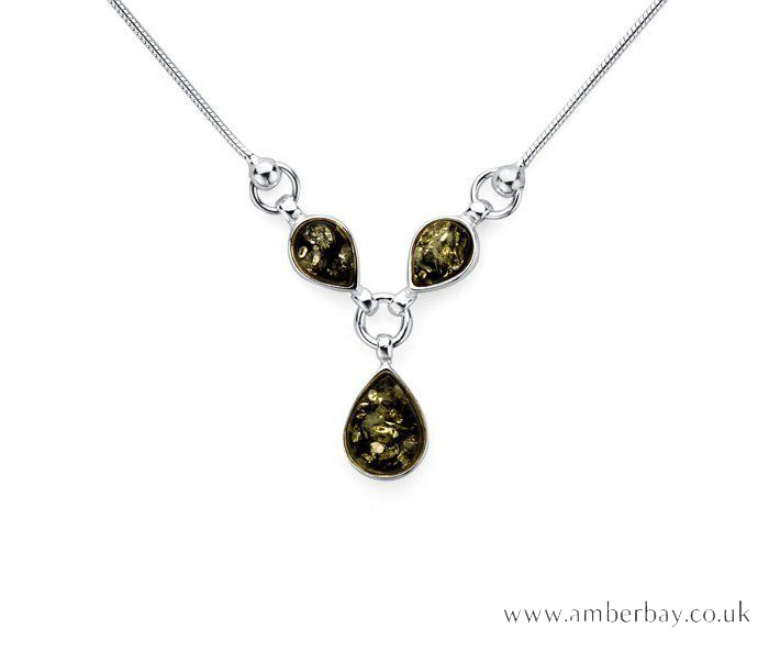 Silver and Green Amber Necklace