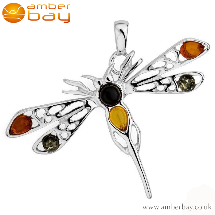 Sterling Silver Mixed Amber Dragonfly Pendant