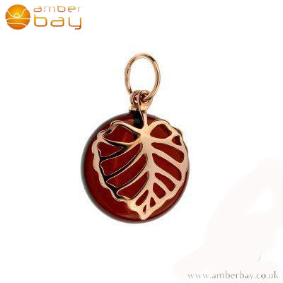 Rose Gold Plated Leaf on Cherry Amber Pendant