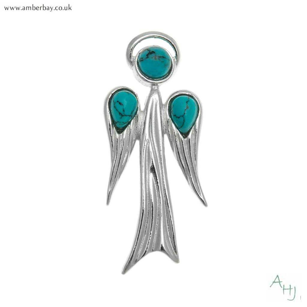 Silver and Turquoise Guardian Angel Pendant