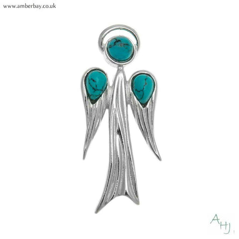 Sterling Silver and Turquoise Guardian Angel Pendant