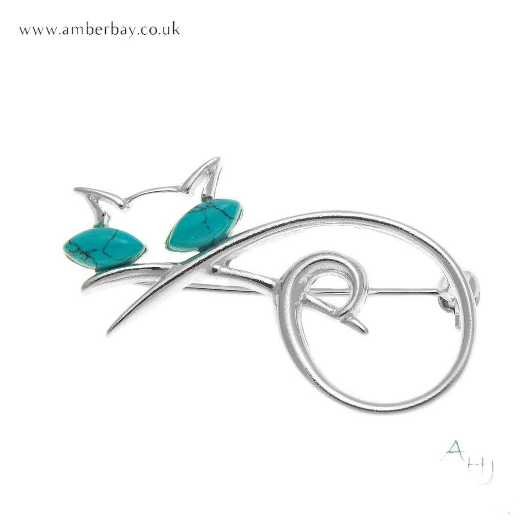 Silver and Turquoise Cat Brooch