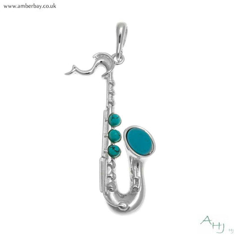 Silver and Turquoise Saxophone Pendant