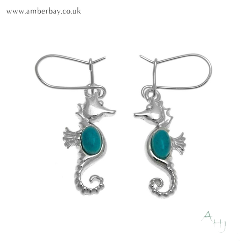 Silver and Turquoise Seahorse Earrings