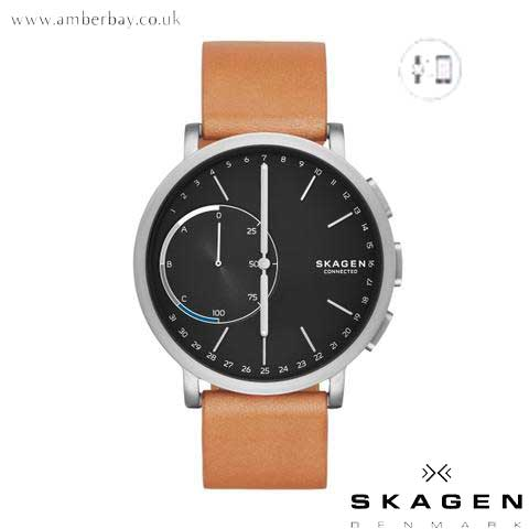 Skagen Unisex Hybrid Smartwatch Hagen Titanium and Tan Leather SKT1104