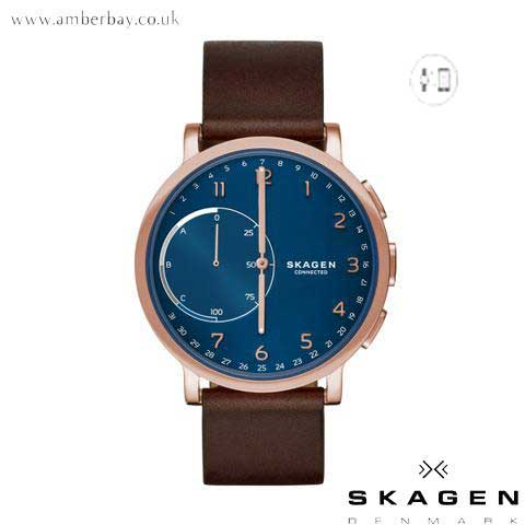Skagen Unisex Hybrid Smartwatch Hagen Dark Brown Leather Watch SKT1103