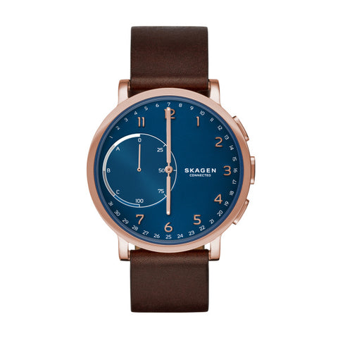 Skagen Gents Hybrid Smartwatch Hagen Dark Brown Leather Watch