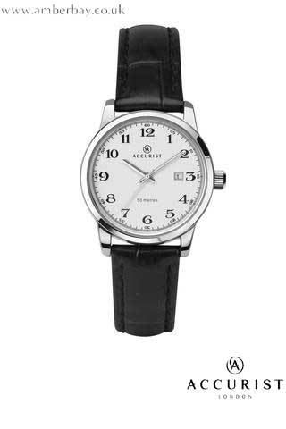 Accurist Ladies Leather Strap Date Watch 8092