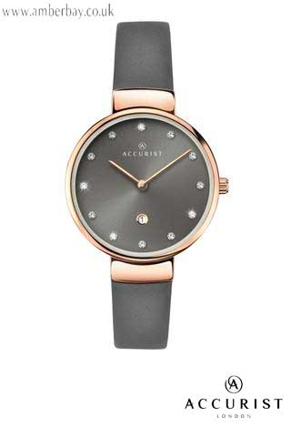 Accurist Ladies Grey Leather Strap Rose Gold Plated Watch 8149