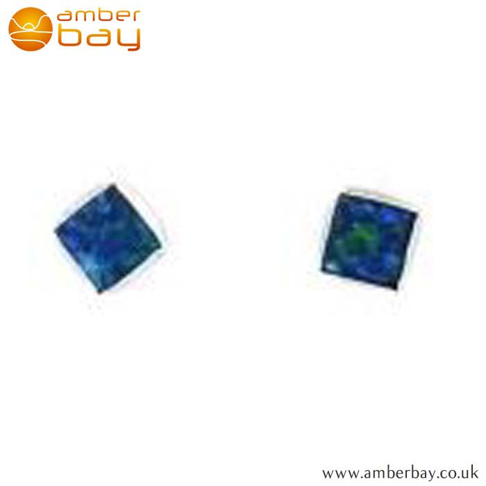 Sterling Silver Square Opalique Ear Studs SSSPO2S-2 at Amber Bay