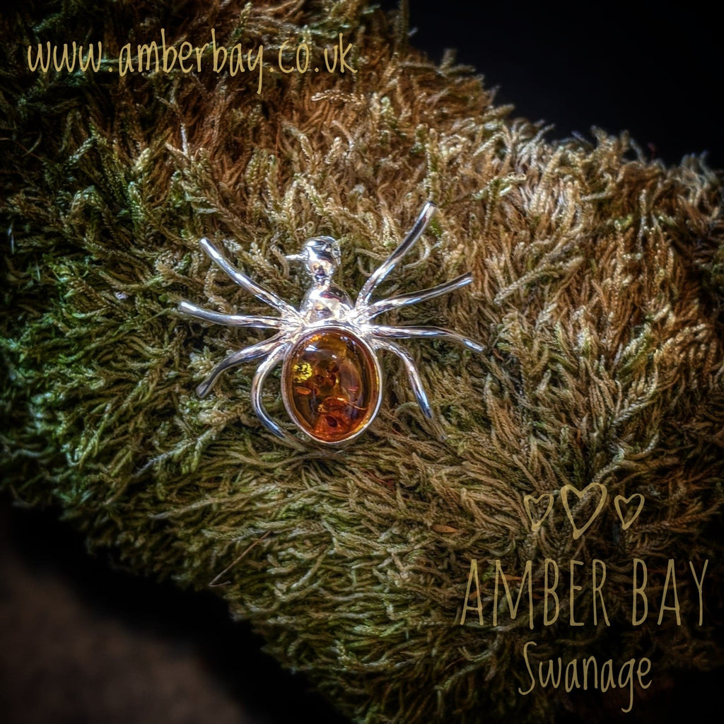 Silver and Cognac Amber Spider Brooch