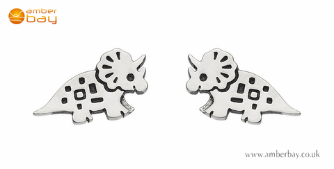 Sterling Silver Triceratop Dinosaur Stud Earrings