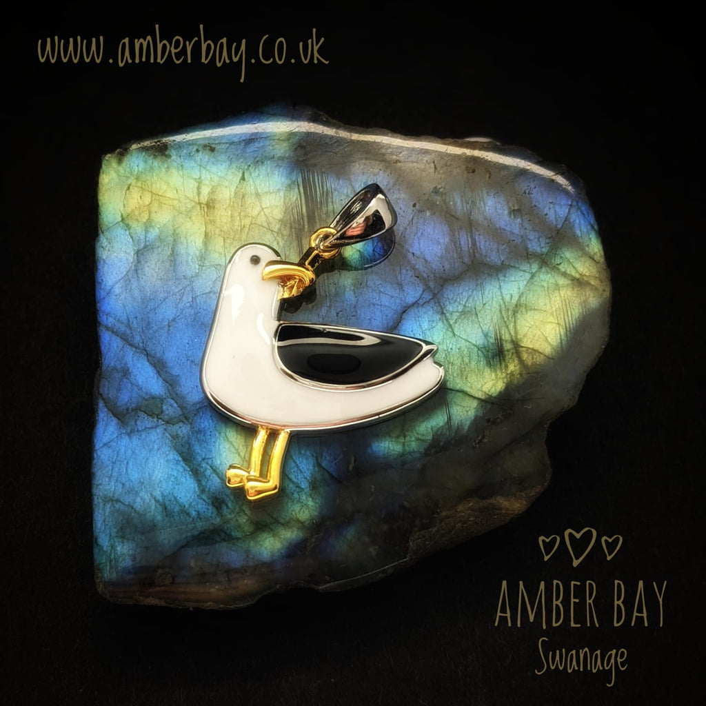 Sterling Silver, Gold Plate and Enamel Seagull Pendant