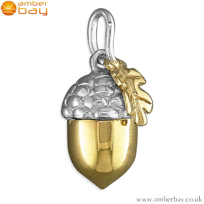 Sterling Silver and Gold Plated Acorn Pendant