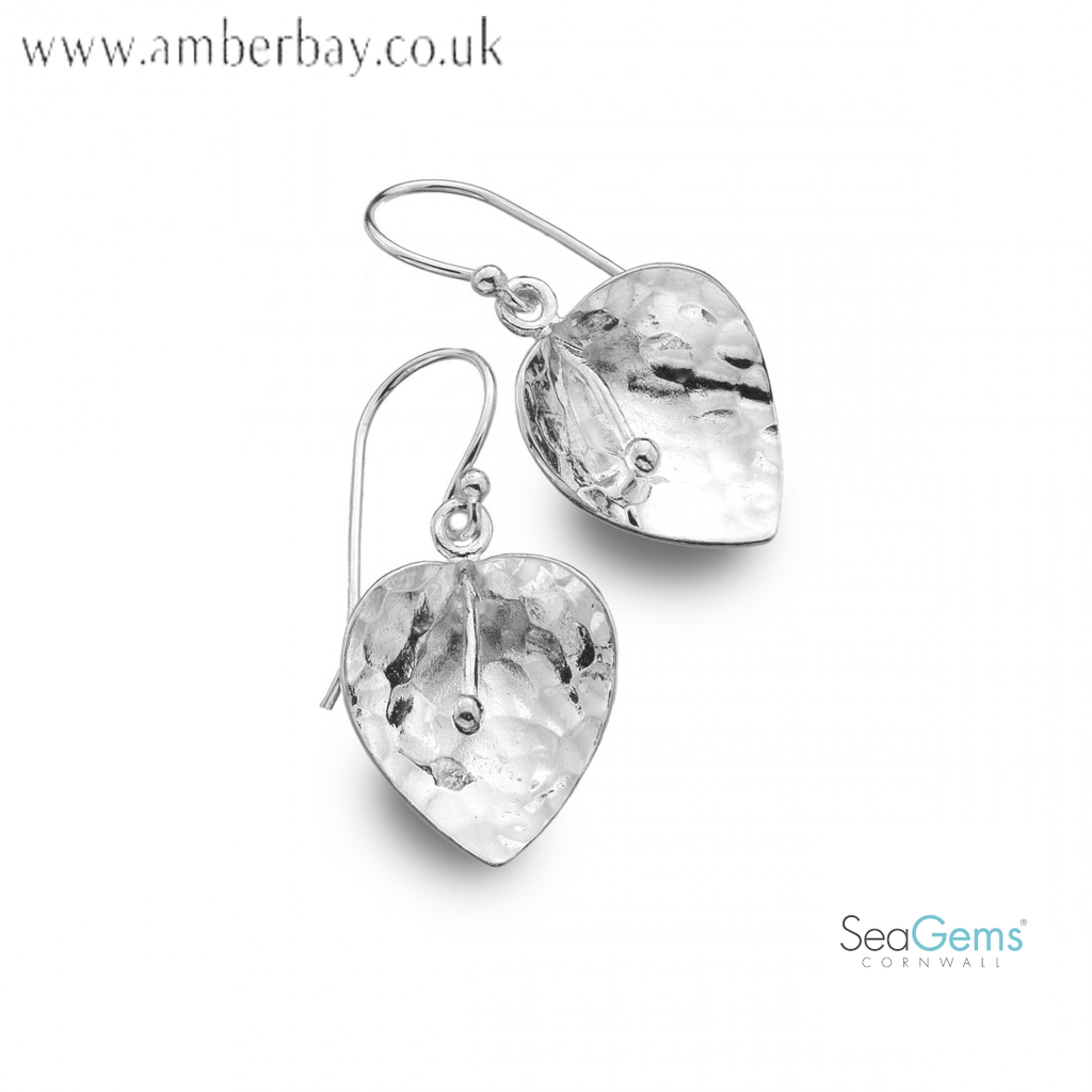 Sea Gems Sterling Silver Hammered Lily Shaped Drop Earrings P3996