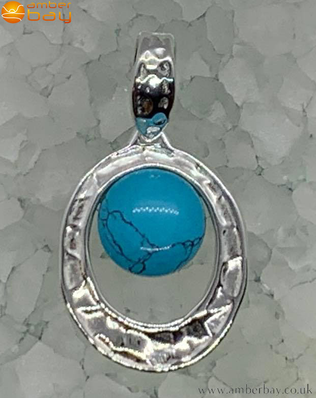 Sterling Silver Hammered Turquoise Pendant