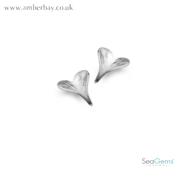 Sea Gems Sterling Silver Heart Shaped Leaf Stud Earrings P3318