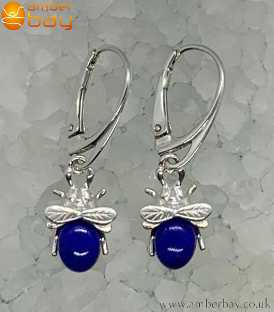 Sterling Silver and Lapis Lazuli Bee Drop Earrings
