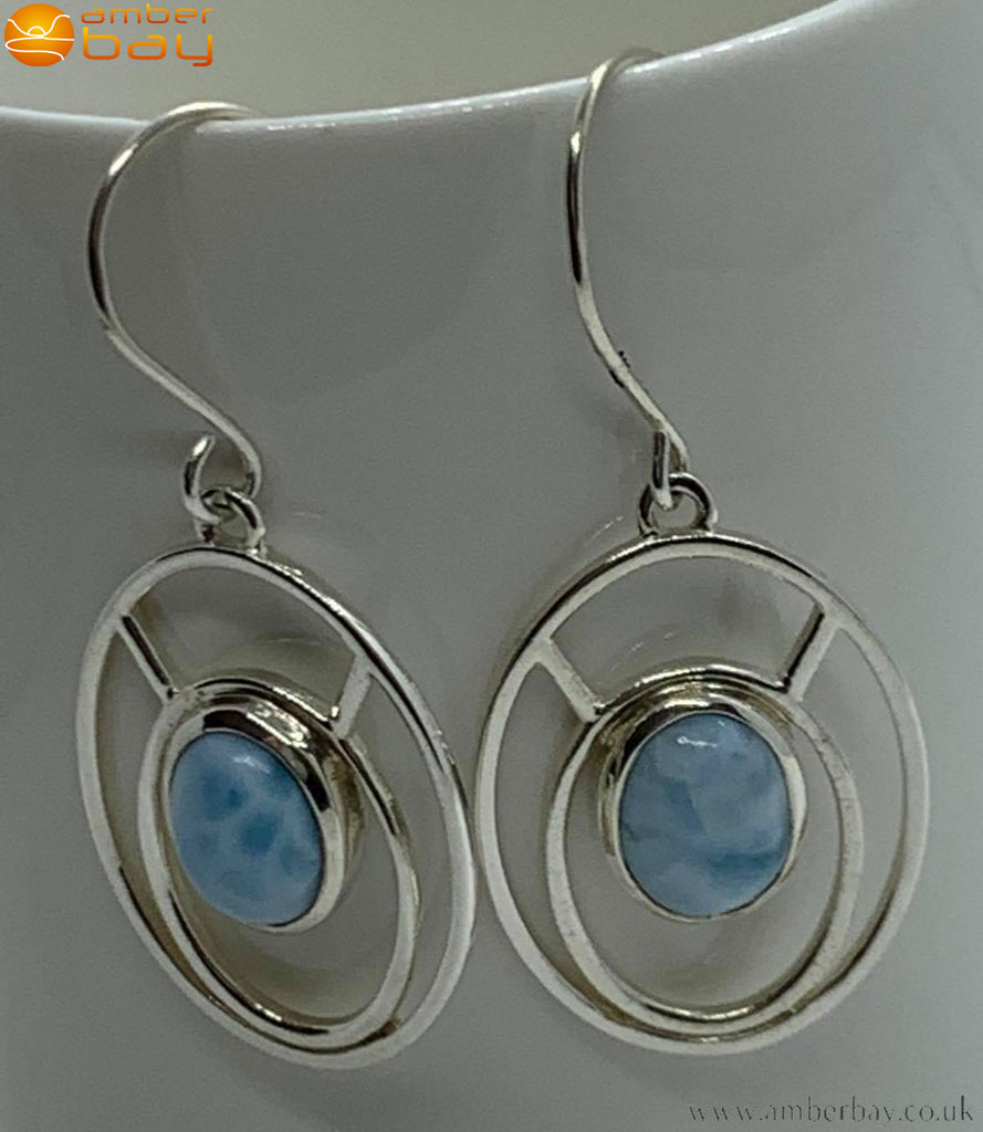Sterling Silver and Larimar Drop Earrings