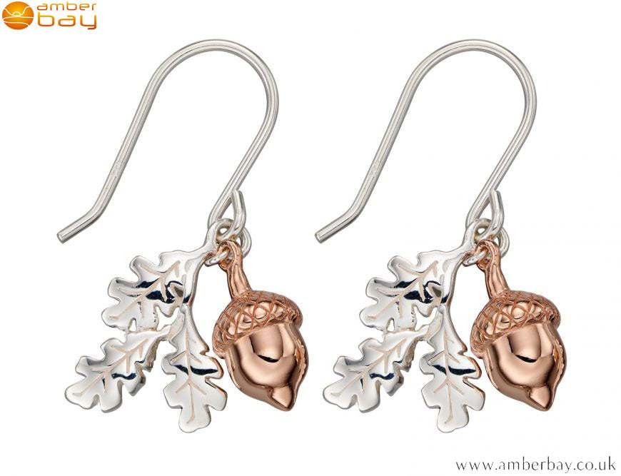 Sterling Silver and Rose Gold Plated Acorn Drop Earrings