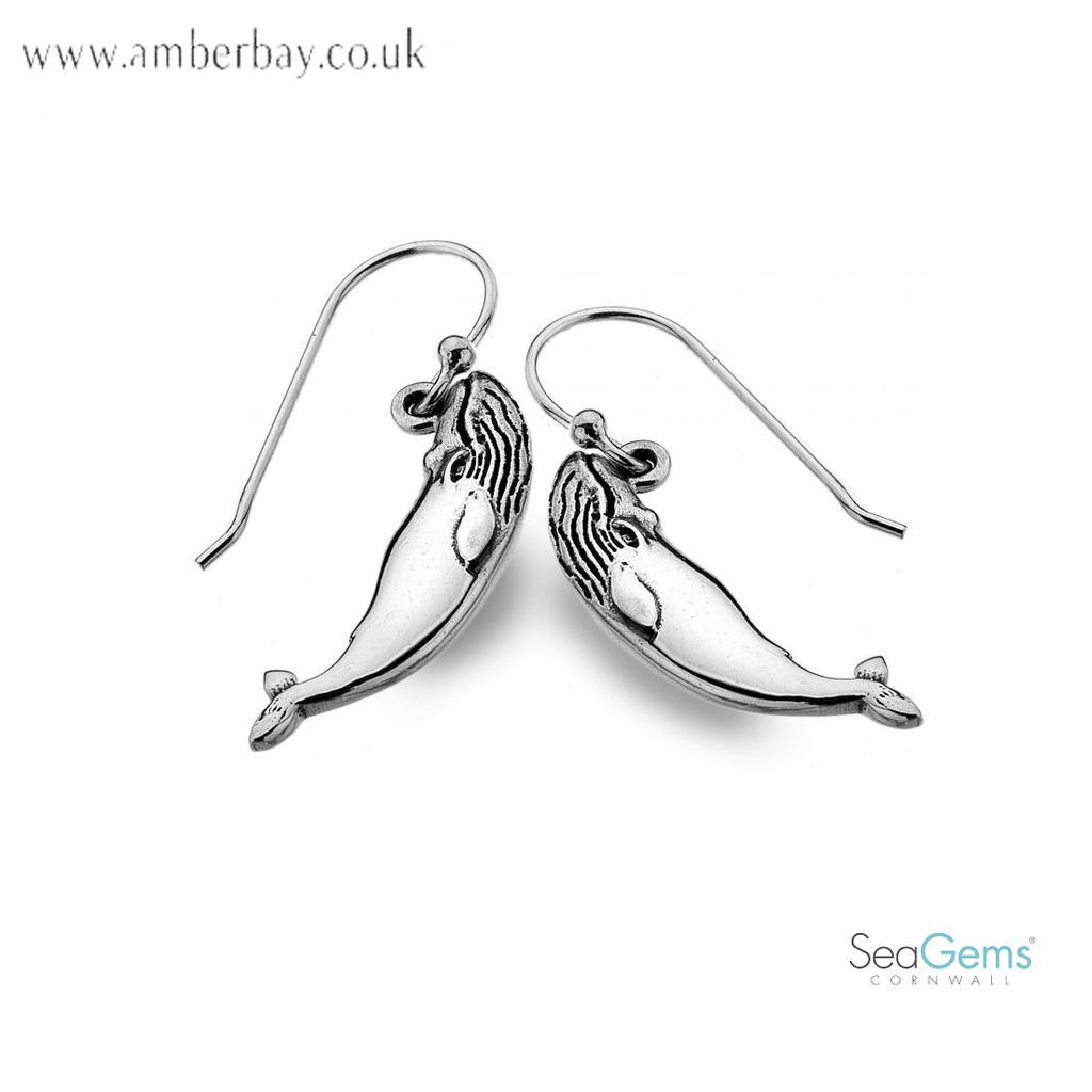 Sea Gems Sterling Silver Whale Drop Earrings P3514