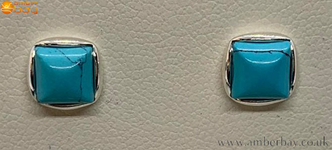 Sterling Silver and Turquoise Square Stud Earrings