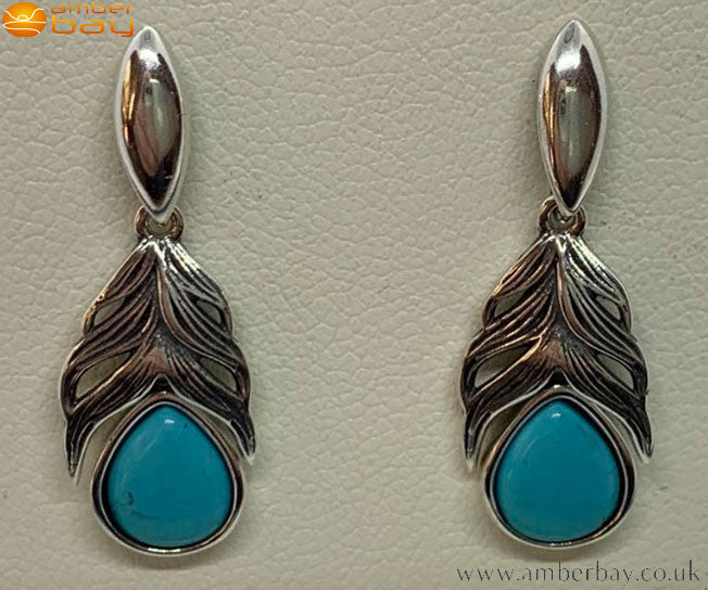 Sterling Silver and Turquoise Feather Drop Earrings