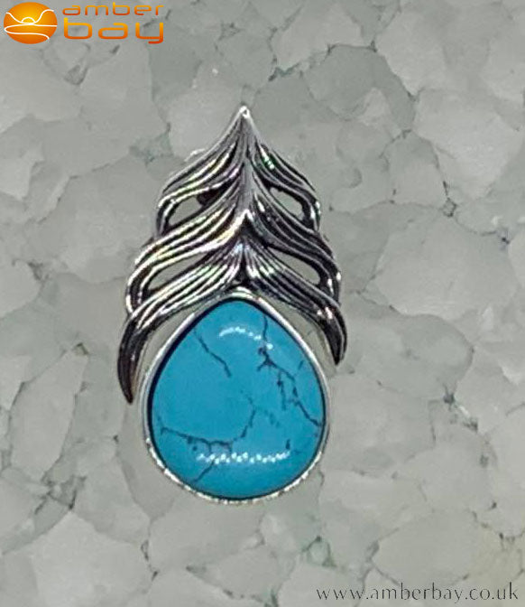 Sterling Silver and Turquoise Feather Pendant