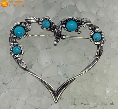 Sterling Silver and Turquoise Flower/Heart Brooch