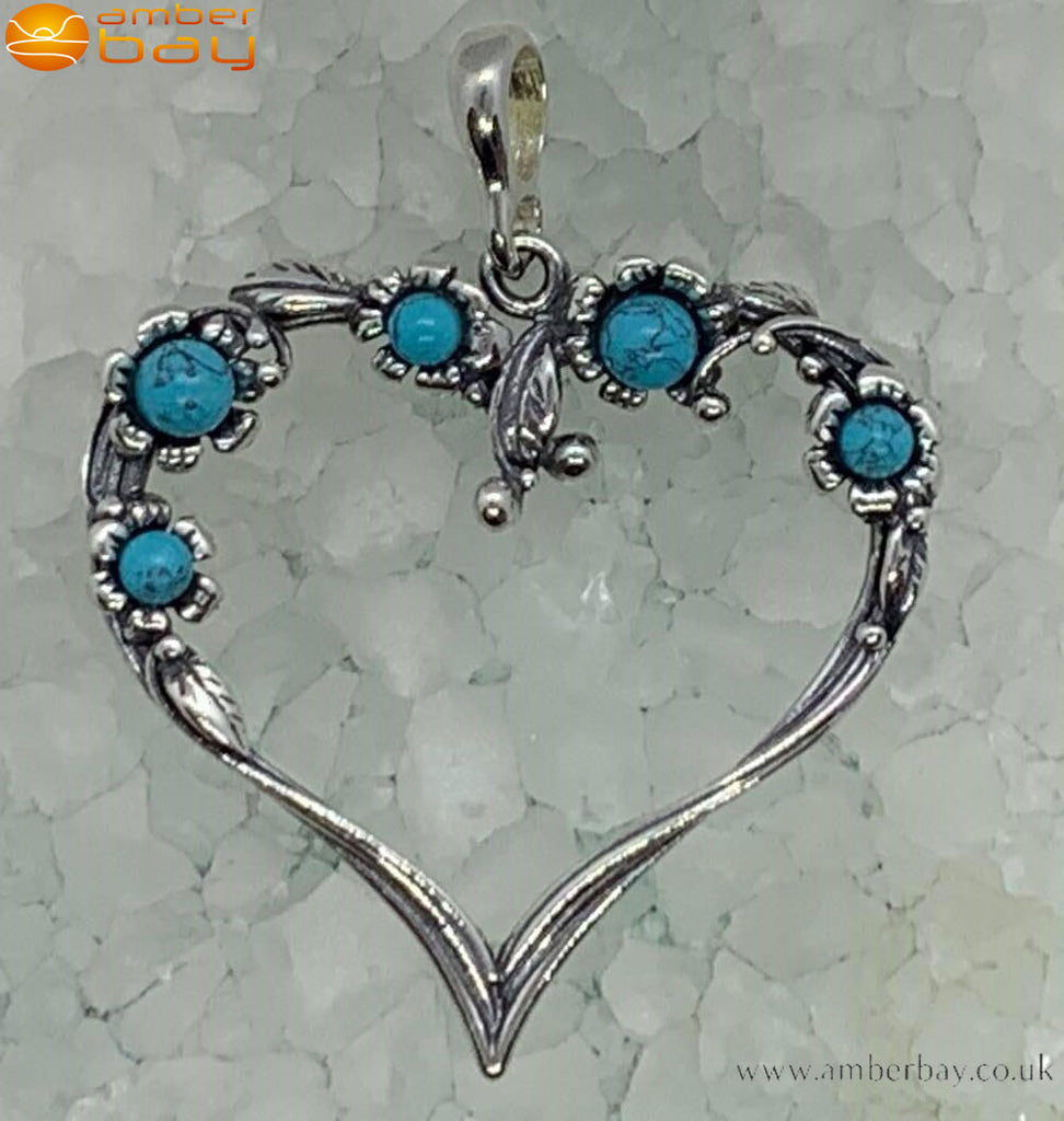 Sterling Silver and Turquoise Heart Shaped Pendant