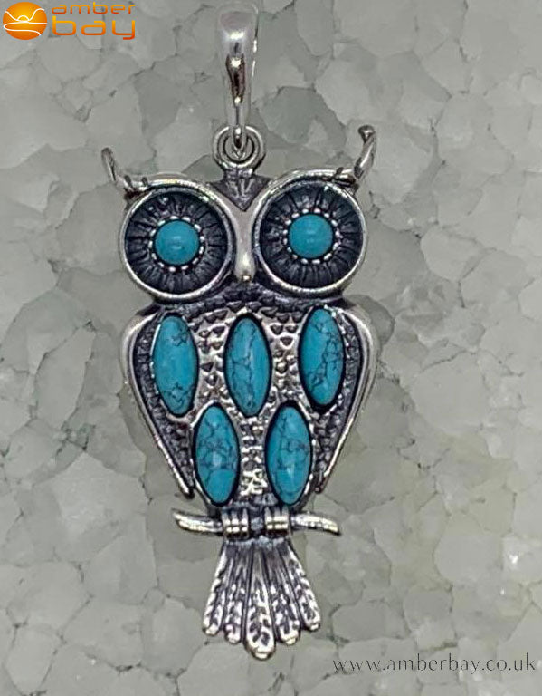 Sterling Silver and Turquoise Owl Pendant