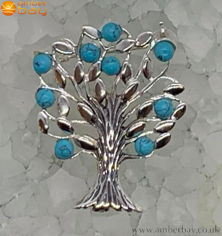 Sterling Silver and Turquoise Tree of Life Brooch