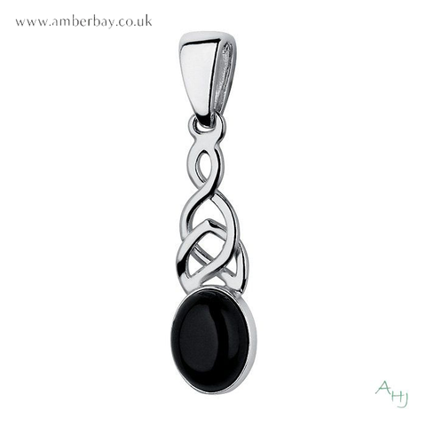 Whitby Jet and Sterling Silver Celtic Pendant