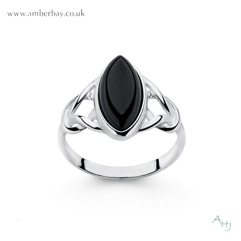 Sterling Silver and Whitby Jet Celtic Ring