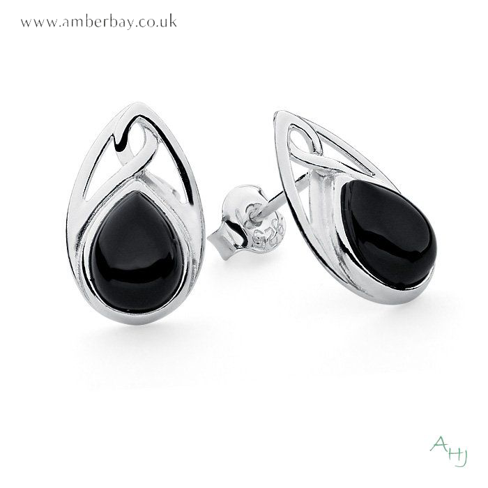 c1405074e Amber Hall Jewellery. Whitby Jet and Sterling Silver Celtic Studs